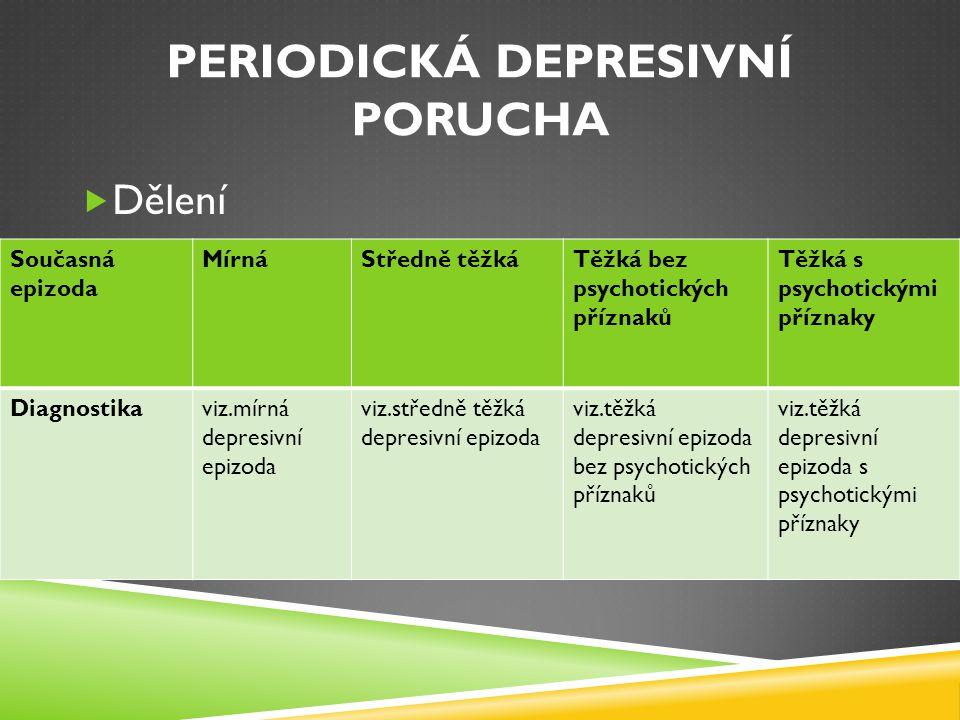PERIODICKÁ DEPRESIVNÍ PORUCHA  Dělení Současná epizoda MírnáStředně těžkáTěžká bez psychotických příznaků Těžká s psychotickými příznaky Diagnostikav