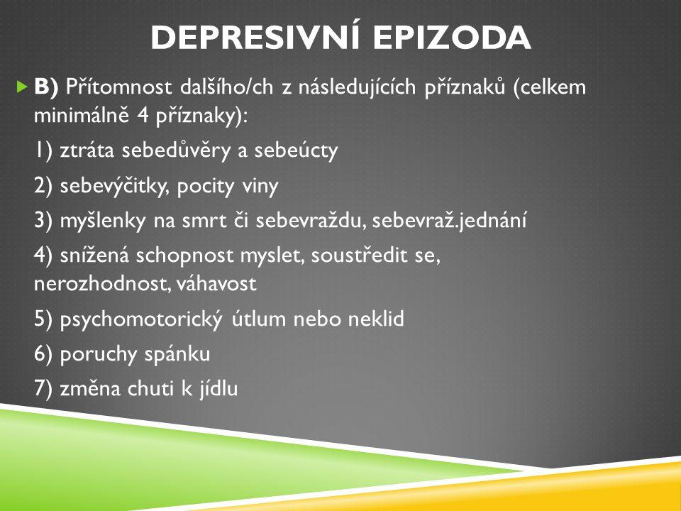 DEPRESIVNÍ EPIZODA  B) Přítomnost dalšího/ch z následujících příznaků (celkem minimálně 4 příznaky): 1) ztráta sebedůvěry a sebeúcty 2) sebevýčitky,