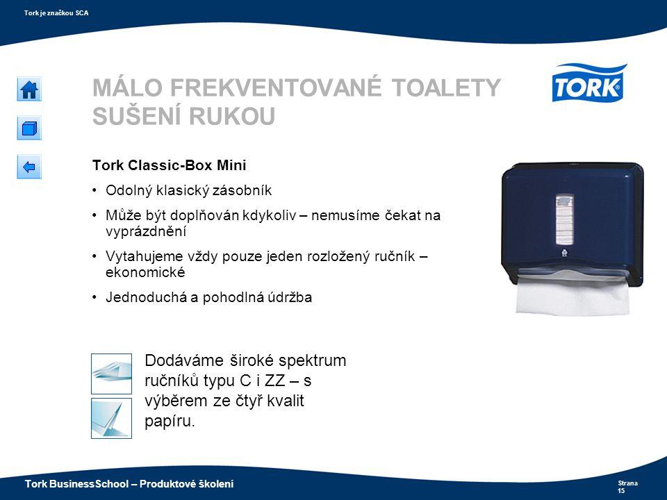 Strana 15 Tork je značkou SCA Tork BusinessSchool – Produktové školení MÁLO FREKVENTOVANÉ TOALETY SUŠENÍ RUKOU Tork Classic-Box Mini Odolný klasický z