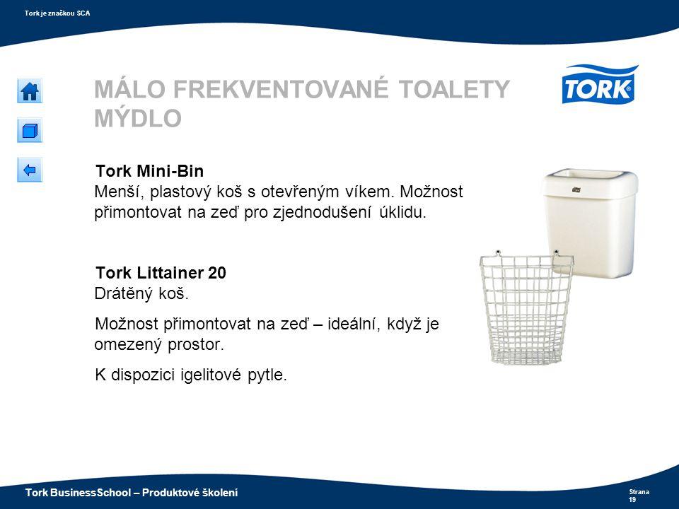 Strana 19 Tork je značkou SCA Tork BusinessSchool – Produktové školení MÁLO FREKVENTOVANÉ TOALETY MÝDLO Tork Mini-Bin Menší, plastový koš s otevřeným
