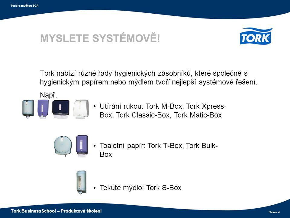 Strana 4 Tork je značkou SCA Tork BusinessSchool – Produktové školení Utírání rukou: Tork M-Box, Tork Xpress- Box, Tork Classic-Box, Tork Matic-Box To