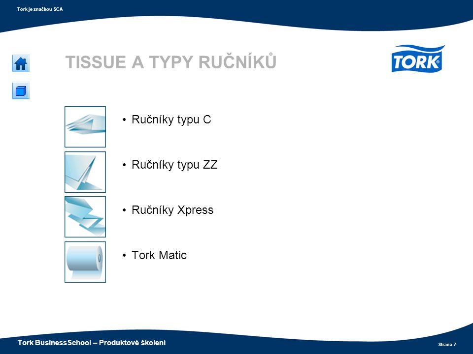 Strana 7 Tork je značkou SCA Tork BusinessSchool – Produktové školení TISSUE A TYPY RUČNÍKŮ Ručníky typu C Ručníky typu ZZ Ručníky Xpress Tork Matic