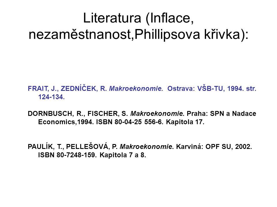 Literatura (Inflace, nezaměstnanost,Phillipsova křivka): FRAIT, J., ZEDNÍČEK, R. Makroekonomie. Ostrava: VŠB-TU, 1994. str. 124-134. DORNBUSCH, R., FI
