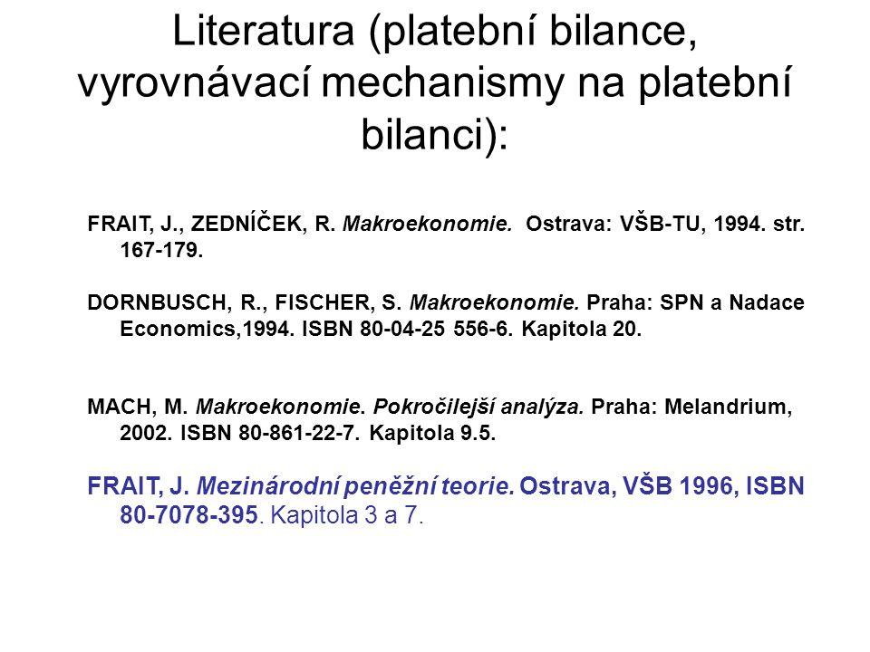 Literatura (platební bilance, vyrovnávací mechanismy na platební bilanci): FRAIT, J., ZEDNÍČEK, R. Makroekonomie. Ostrava: VŠB-TU, 1994. str. 167-179.