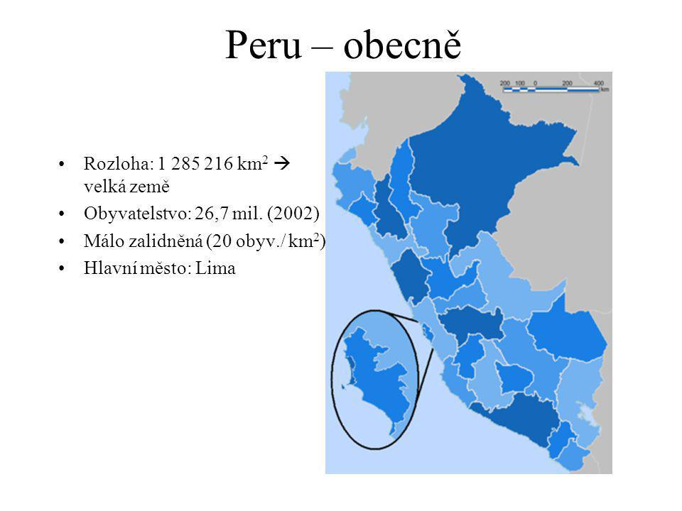 Peru – obecně Rozloha: 1 285 216 km 2  velká země Obyvatelstvo: 26,7 mil.