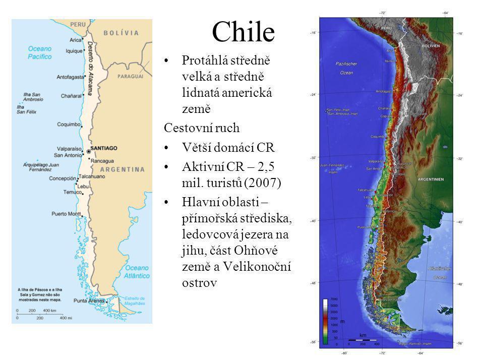 Chile Protáhlá středně velká a středně lidnatá americká země Cestovní ruch Větší domácí CR Aktivní CR – 2,5 mil.