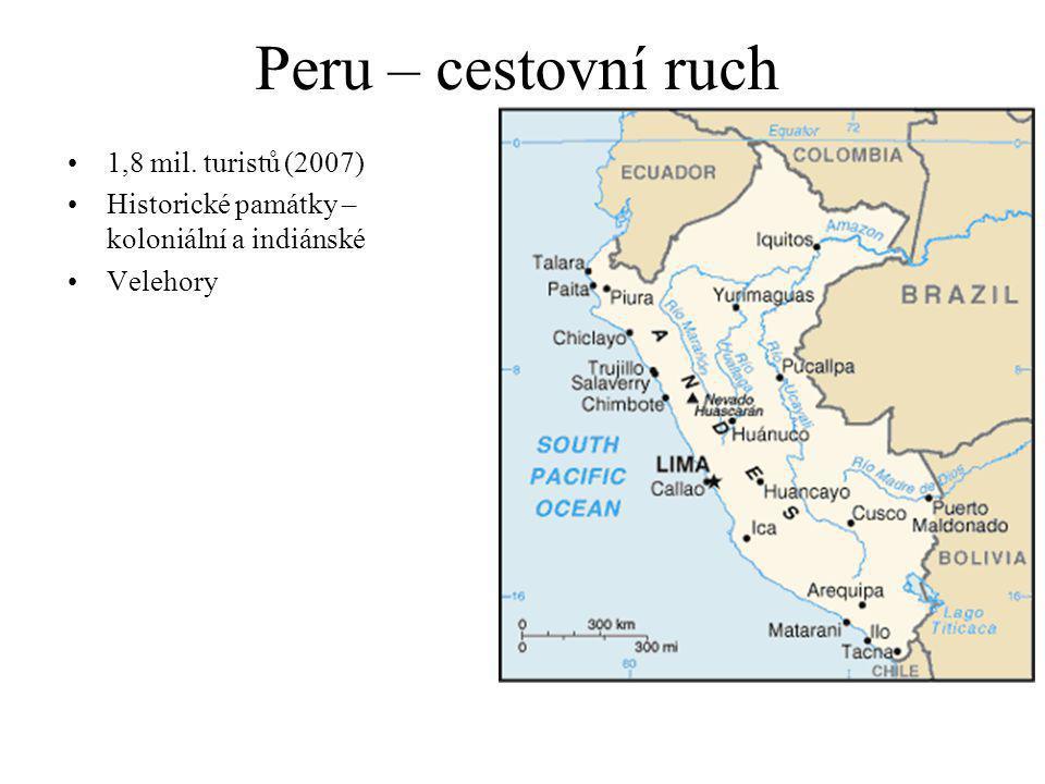 Peru – cestovní ruch 1,8 mil. turistů (2007) Historické památky – koloniální a indiánské Velehory