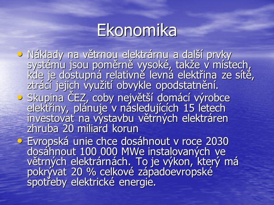 Ekonomika Náklady na větrnou elektrárnu a další prvky systému jsou poměrně vysoké, takže v místech, kde je dostupná relativně levná elektřina ze sítě,