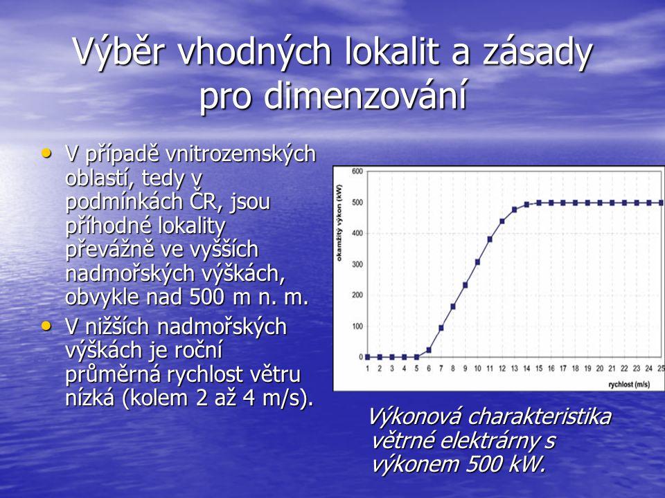 Výběr vhodných lokalit a zásady pro dimenzování V případě vnitrozemských oblastí, tedy v podmínkách ČR, jsou příhodné lokality převážně ve vyšších nad