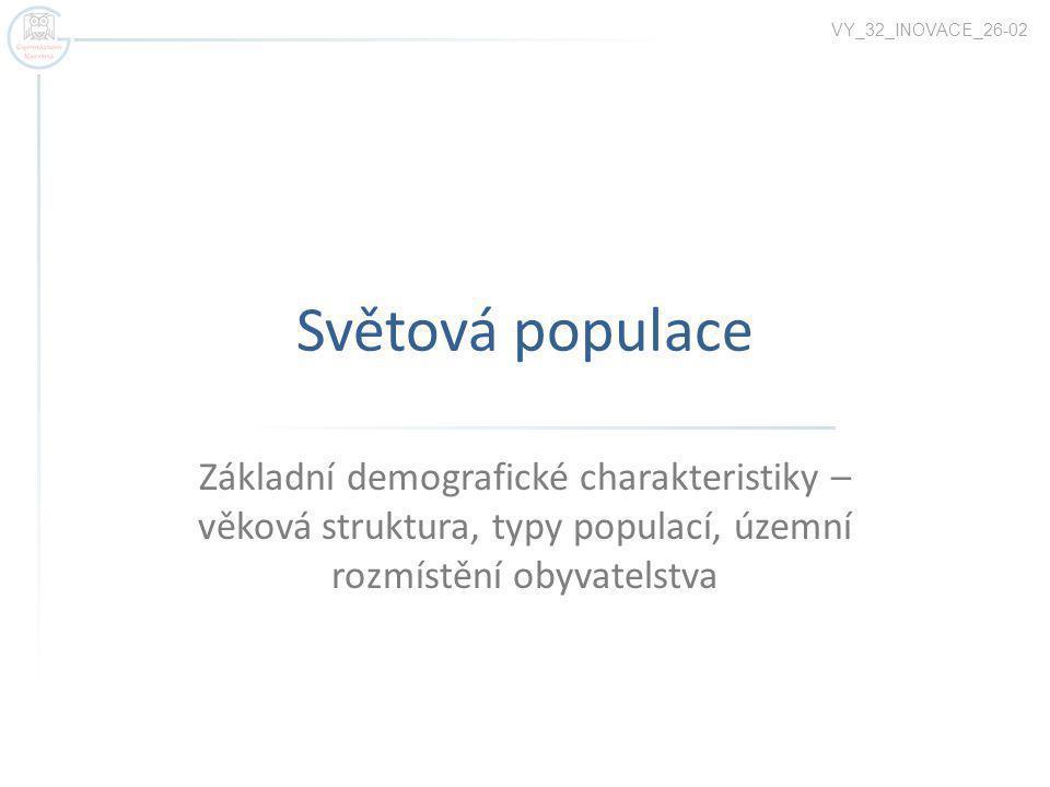 Světová populace Základní demografické charakteristiky – věková struktura, typy populací, územní rozmístění obyvatelstva VY_32_INOVACE_26-02