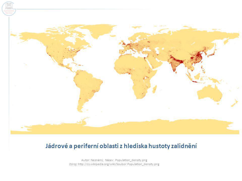 Jádrové a periferní oblasti z hlediska hustoty zalidnění Autor: Neznámý, Název: Population_density.png Zdroj: http://cs.wikipedia.org/wiki/Soubor:Popu
