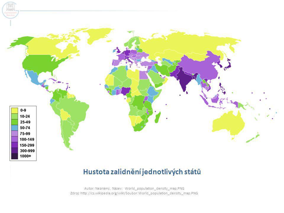 Hustota zalidnění jednotlivých států Autor: Neznámý, Název: World_population_density_map.PNG Zdroj: http://cs.wikipedia.org/wiki/Soubor:World_populati