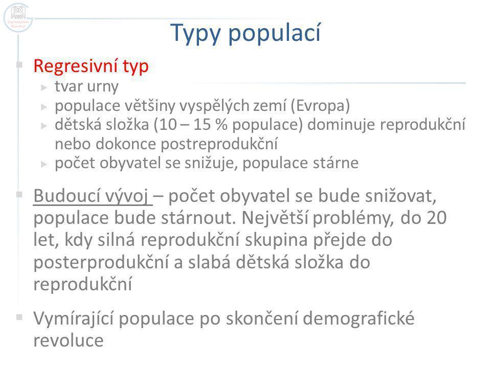 Typy populací  Regresivní typ  tvar urny  populace většiny vyspělých zemí (Evropa)  dětská složka (10 – 15 % populace) dominuje reprodukční nebo d