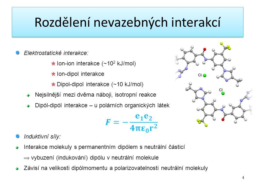 4 Elektrostatické interakce: Ion-ion interakce (~10 2 kJ/mol) Ion-dipol interakce Dipol-dipol interakce (~10 kJ/mol) Nejsilnější mezi dvěma náboji, isotropní reakce Dipól-dipól interakce – u polárních organických látek Induktivní síly: Interakce molekuly s permanentním dipólem s neutrální částicí  vybuzení (indukování) dipólu v neutrální molekule Závisí na velikosti dipólmomentu a polarizovatelnosti neutrální molekuly