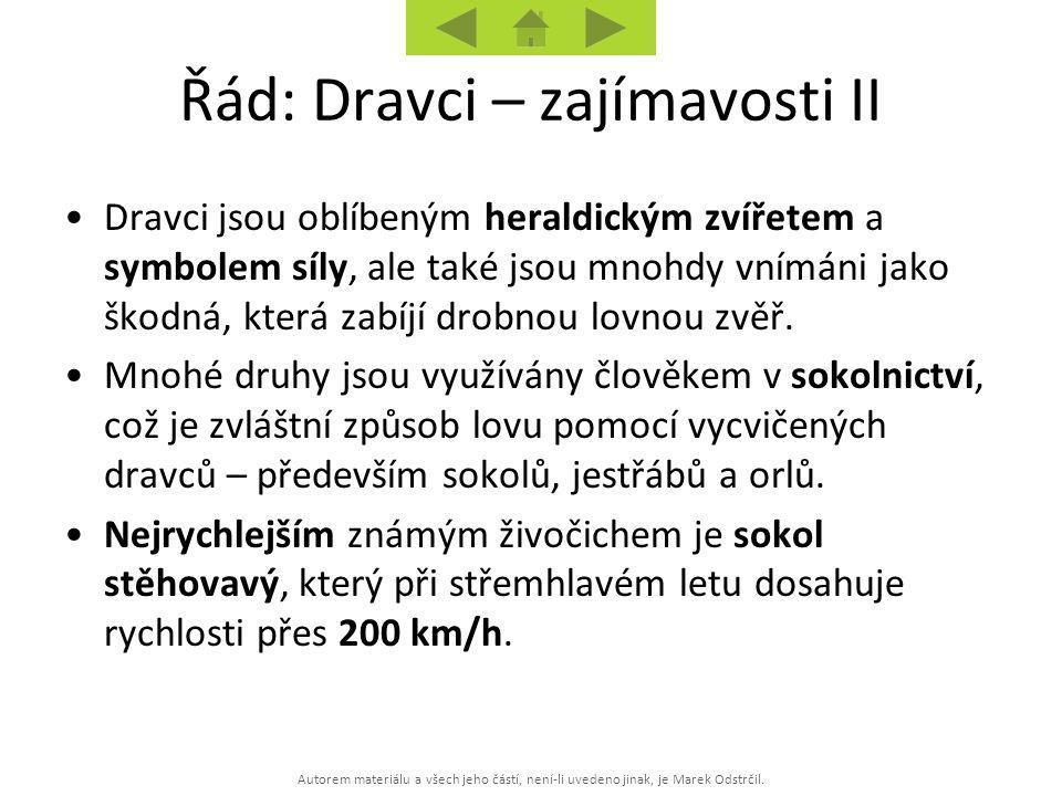 Autorem materiálu a všech jeho částí, není-li uvedeno jinak, je Marek Odstrčil. Řád: Dravci – zajímavosti II Dravci jsou oblíbeným heraldickým zvířete