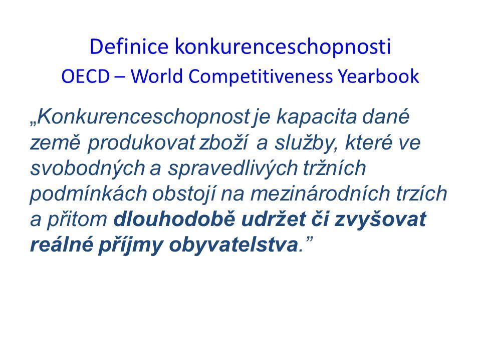 """Definice konkurenceschopnosti OECD – World Competitiveness Yearbook """"Konkurenceschopnost je kapacita dané země produkovat zboží a služby, které ve svobodných a spravedlivých tržních podmínkách obstojí na mezinárodních trzích a přitom dlouhodobě udržet či zvyšovat reálné příjmy obyvatelstva."""