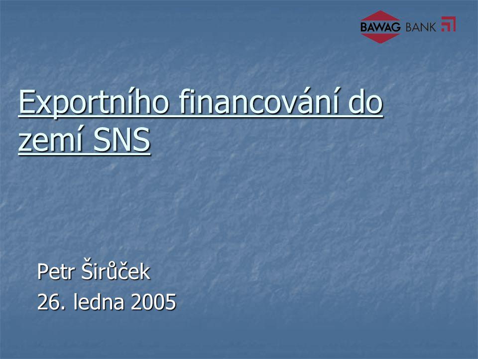 Exportního financování do zemí SNS Petr Širůček 26. ledna 2005