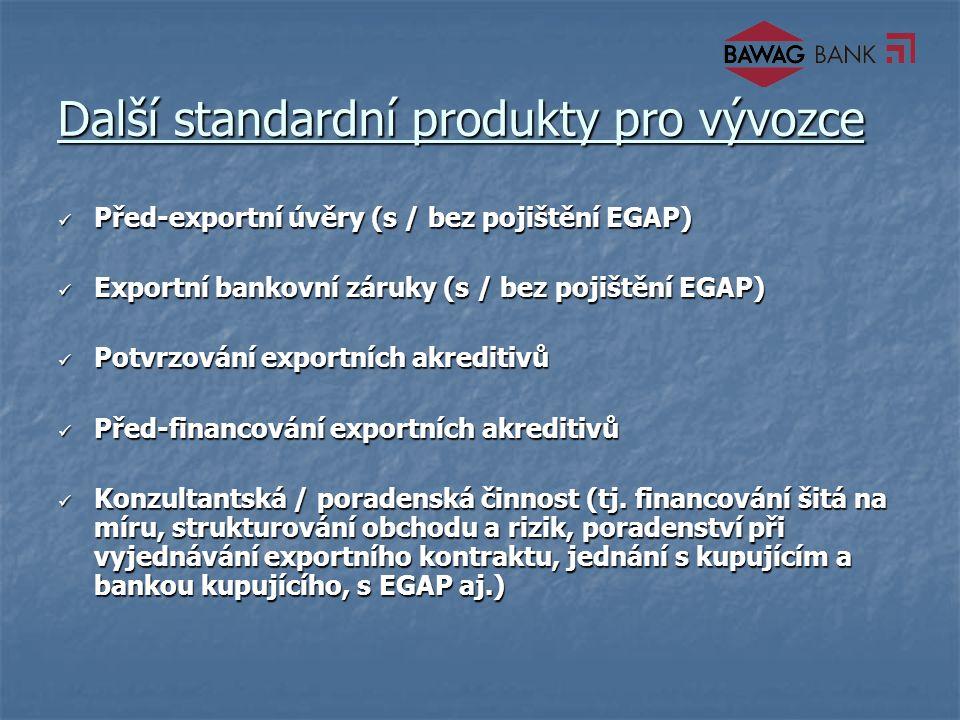 Další standardní produkty pro vývozce Před-exportní úvěry (s / bez pojištění EGAP) Před-exportní úvěry (s / bez pojištění EGAP) Exportní bankovní záruky (s / bez pojištění EGAP) Exportní bankovní záruky (s / bez pojištění EGAP) Potvrzování exportních akreditivů Potvrzování exportních akreditivů Před-financování exportních akreditivů Před-financování exportních akreditivů Konzultantská / poradenská činnost (tj.