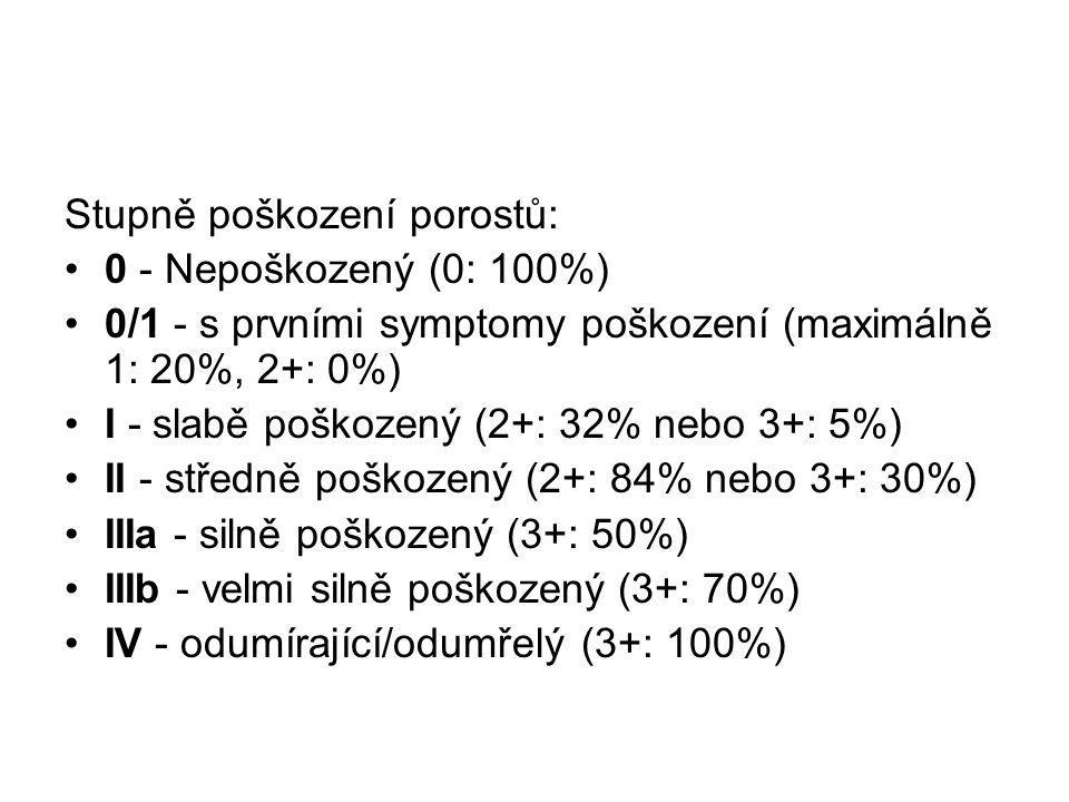 Stupně poškození porostů: 0 - Nepoškozený (0: 100%) 0/1 - s prvními symptomy poškození (maximálně 1: 20%, 2+: 0%) I - slabě poškozený (2+: 32% nebo 3+: 5%) II - středně poškozený (2+: 84% nebo 3+: 30%) IIIa - silně poškozený (3+: 50%) IIIb - velmi silně poškozený (3+: 70%) IV - odumírající/odumřelý (3+: 100%)