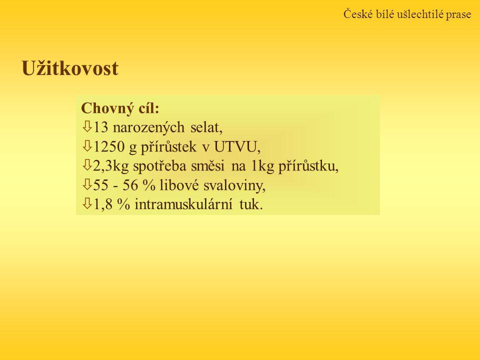 České bílé ušlechtilé prase Chovný cíl: ò 13 narozených selat, ò 1250 g přírůstek v UTVU, ò 2,3kg spotřeba směsi na 1kg přírůstku, ò 55 - 56 % libové svaloviny, ò 1,8 % intramuskulární tuk.