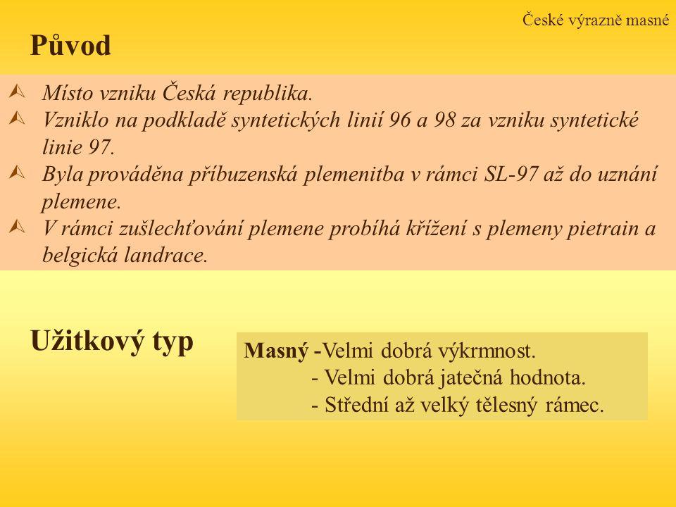 České výrazně masné ÙMísto vzniku Česká republika. ÙVzniklo na podkladě syntetických linií 96 a 98 za vzniku syntetické linie 97. ÙByla prováděna příb