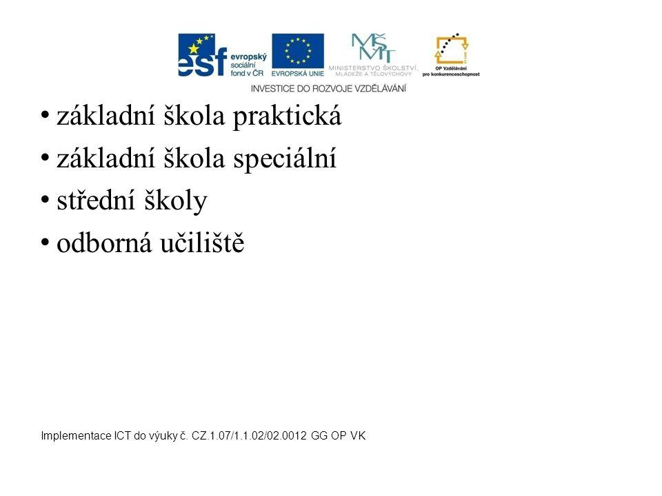 základní škola praktická základní škola speciální střední školy odborná učiliště Implementace ICT do výuky č. CZ.1.07/1.1.02/02.0012 GG OP VK