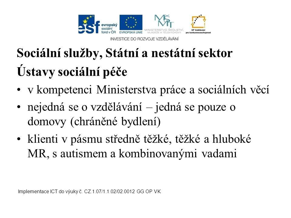 Sociální služby, Státní a nestátní sektor Ústavy sociální péče v kompetenci Ministerstva práce a sociálních věcí nejedná se o vzdělávání – jedná se po