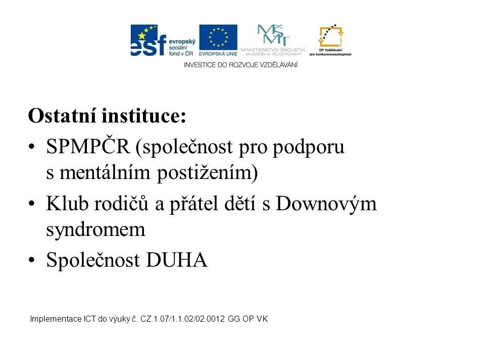Ostatní instituce: SPMPČR (společnost pro podporu s mentálním postižením) Klub rodičů a přátel dětí s Downovým syndromem Společnost DUHA Implementace ICT do výuky č.