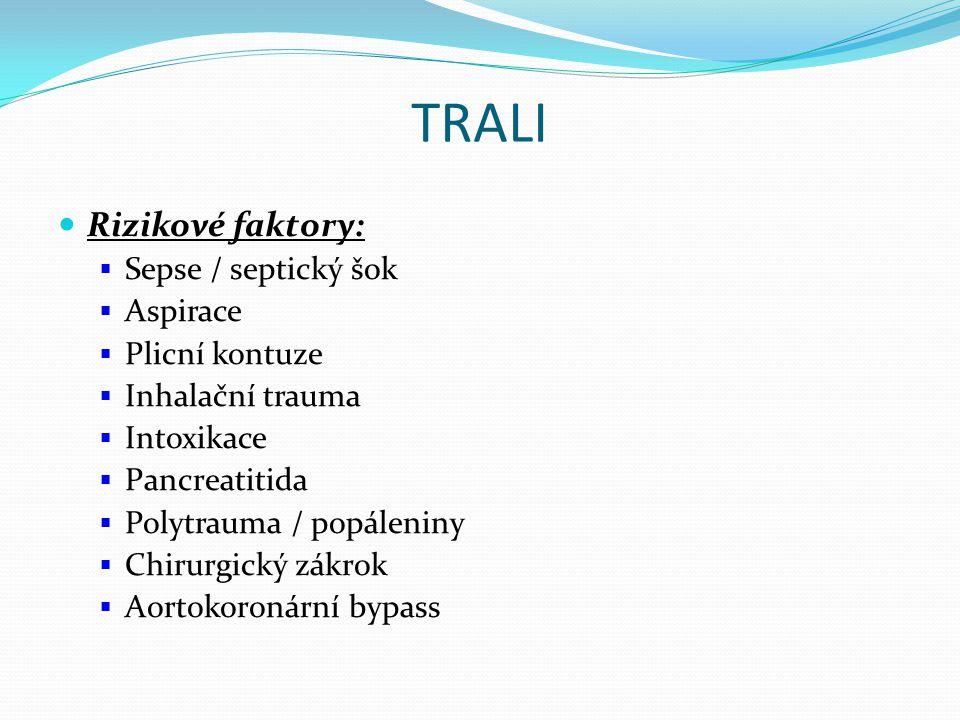 TRALI Rizikové faktory:  Sepse / septický šok  Aspirace  Plicní kontuze  Inhalační trauma  Intoxikace  Pancreatitida  Polytrauma / popáleniny  Chirurgický zákrok  Aortokoronární bypass