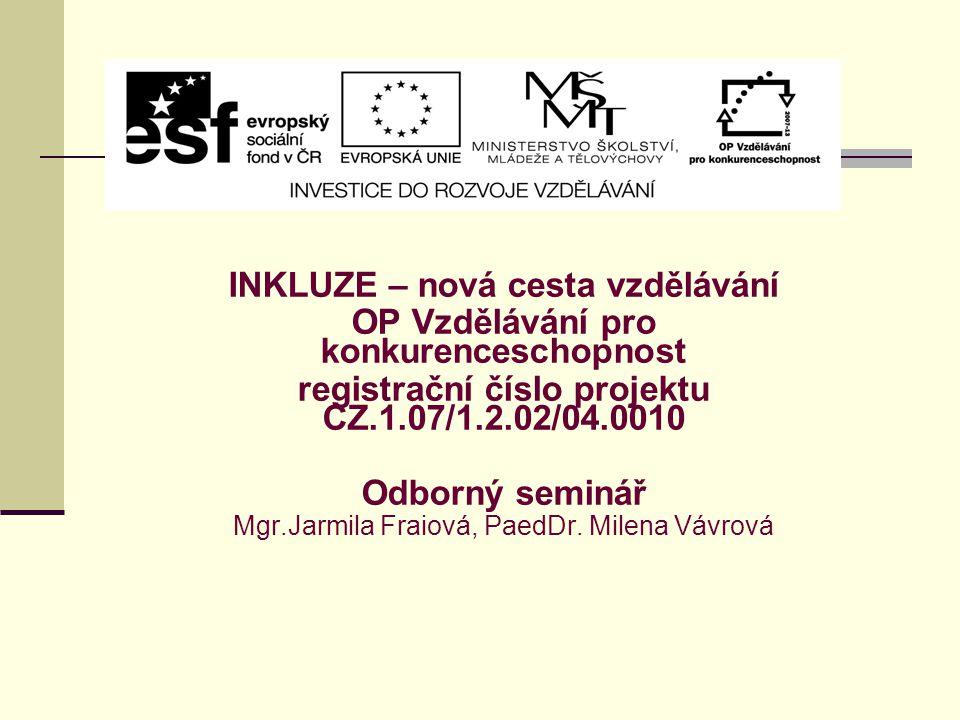 INKLUZE – nová cesta vzdělávání OP Vzdělávání pro konkurenceschopnost registrační číslo projektu CZ.1.07/1.2.02/04.0010 Odborný seminář Mgr.Jarmila Fr