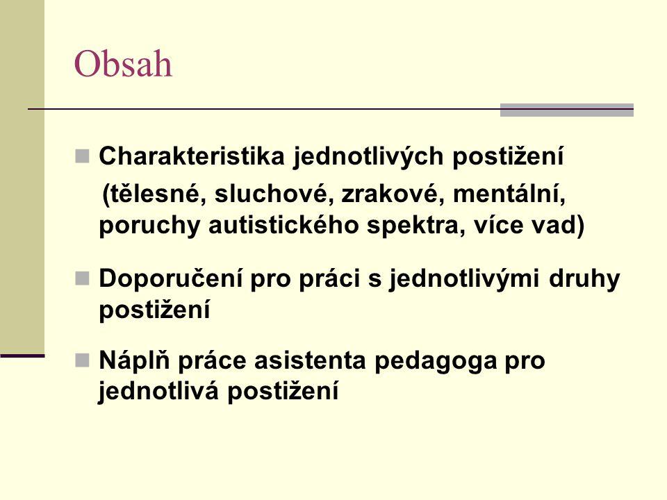 Obsah Charakteristika jednotlivých postižení (tělesné, sluchové, zrakové, mentální, poruchy autistického spektra, více vad) Doporučení pro práci s jed