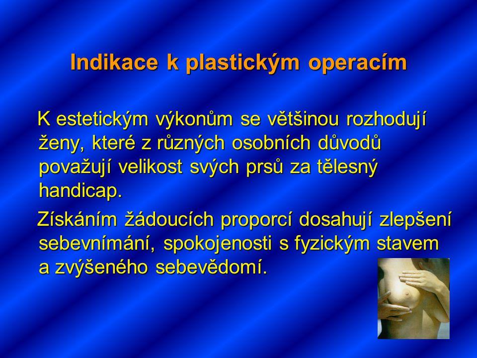 Indikace k plastickým operacím K estetickým výkonům se většinou rozhodují ženy, které z různých osobních důvodů považují velikost svých prsů za tělesný handicap.