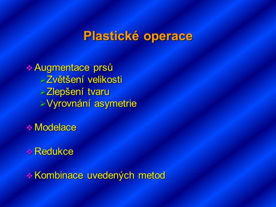 Plastické operace  Augmentace prsů  Zvětšení velikosti  Zlepšení tvaru  Vyrovnání asymetrie  Modelace  Redukce  Kombinace uvedených metod