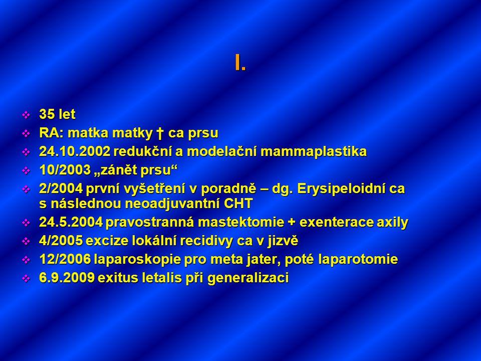"""I.  35 let  RA: matka matky † ca prsu  24.10.2002 redukční a modelační mammaplastika  10/2003 """"zánět prsu""""  2/2004 první vyšetření v poradně – dg"""