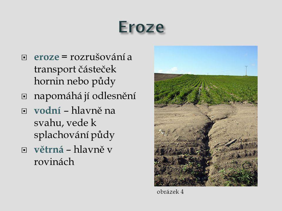  eroze = rozrušování a transport částeček hornin nebo půdy  napomáhá jí odlesnění  vodní – hlavně na svahu, vede k splachování půdy  větrná – hlav