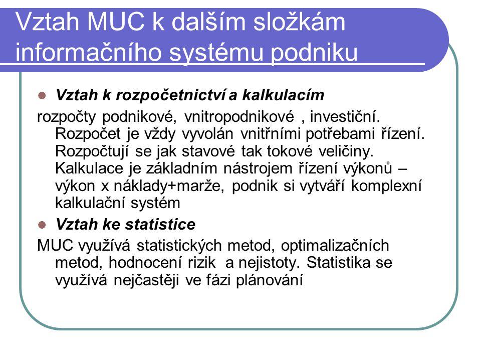 Vztah MUC k dalším složkám informačního systému podniku Vztah k rozpočetnictví a kalkulacím rozpočty podnikové, vnitropodnikové, investiční. Rozpočet