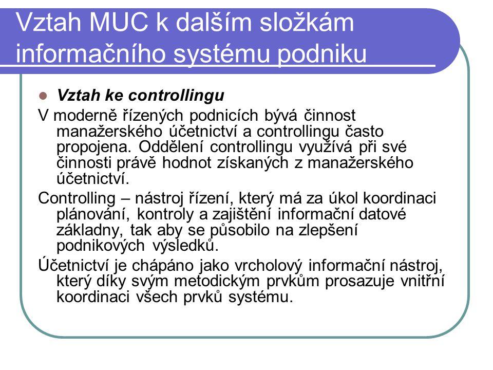 Vztah MUC k dalším složkám informačního systému podniku Vztah ke controllingu V moderně řízených podnicích bývá činnost manažerského účetnictví a cont
