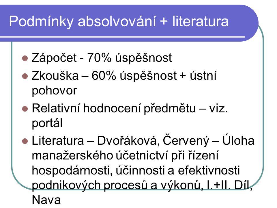 Podmínky absolvování + literatura Zápočet - 70% úspěšnost Zkouška – 60% úspěšnost + ústní pohovor Relativní hodnocení předmětu – viz. portál Literatur