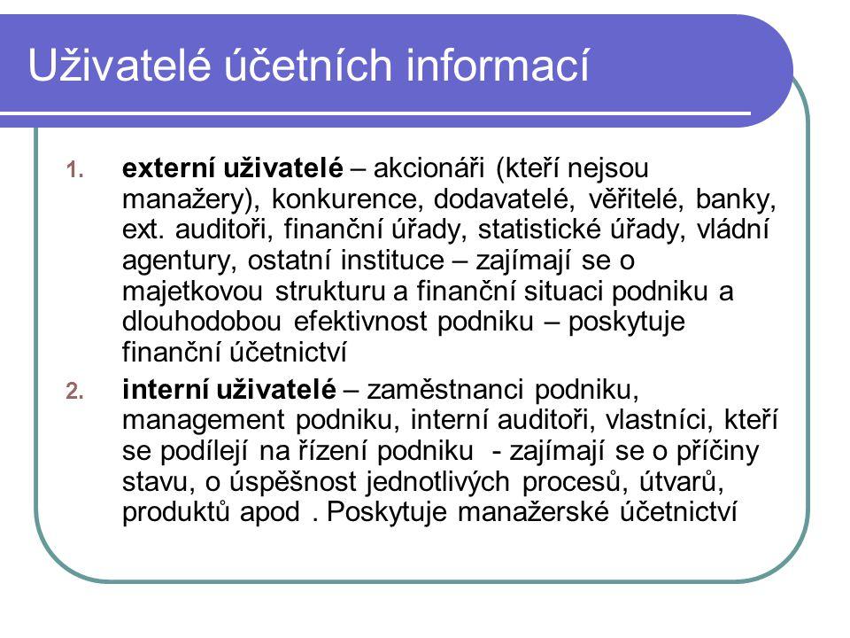 Uživatelé účetních informací 1. externí uživatelé – akcionáři (kteří nejsou manažery), konkurence, dodavatelé, věřitelé, banky, ext. auditoři, finančn