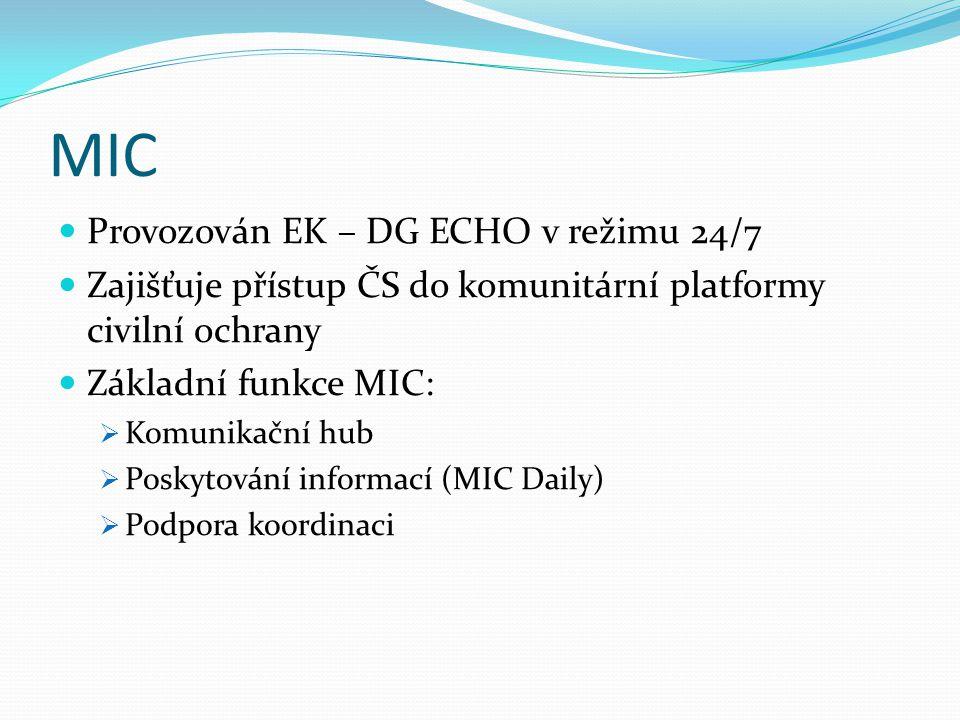 MIC Provozován EK – DG ECHO v režimu 24/7 Zajišťuje přístup ČS do komunitární platformy civilní ochrany Základní funkce MIC:  Komunikační hub  Poskytování informací (MIC Daily)  Podpora koordinaci