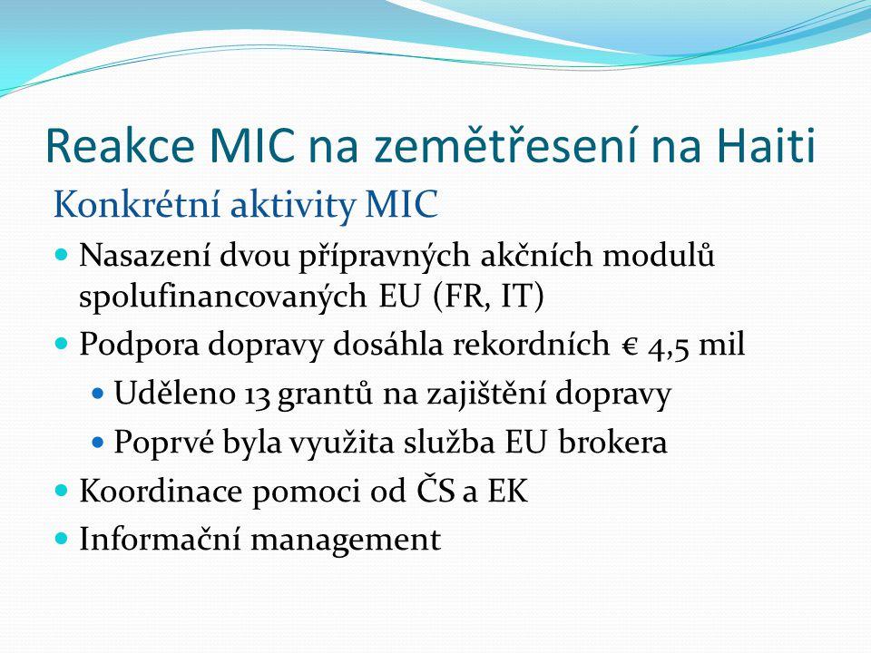 Reakce MIC na zemětřesení na Haiti Konkrétní aktivity MIC Nasazení dvou přípravných akčních modulů spolufinancovaných EU (FR, IT) Podpora dopravy dosáhla rekordních € 4,5 mil Uděleno 13 grantů na zajištění dopravy Poprvé byla využita služba EU brokera Koordinace pomoci od ČS a EK Informační management