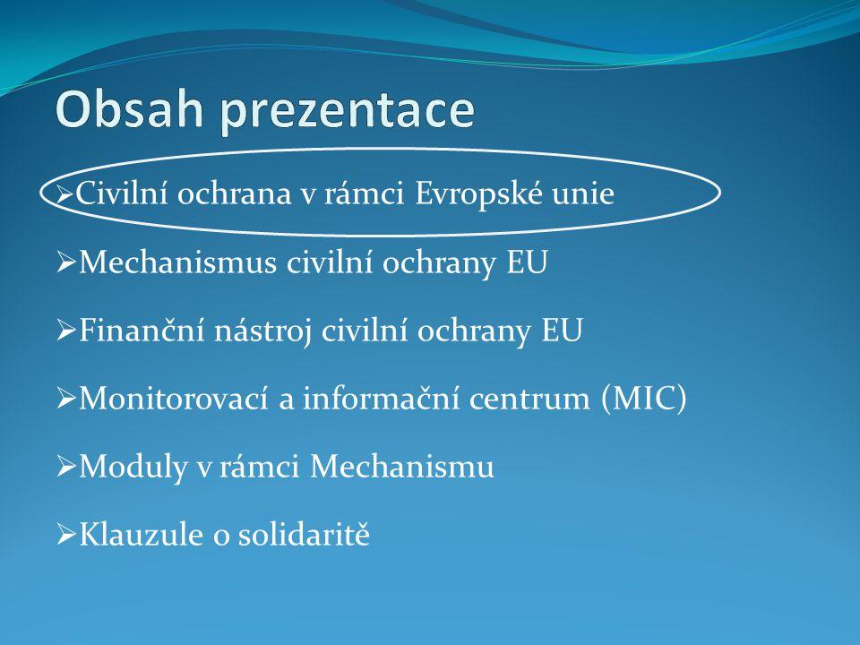 Civilní ochrana v rámci Evropské komise Od ledna 2010 již nespadá pod Generální ředitelství pro životní prostředí (DG ENV), ale byla nově začleněna pod Generální ředitelství pro humanitární pomoc (DG ECHO) V rámci Evropské komise je DG ECHO primárně v kompetenci tzv.