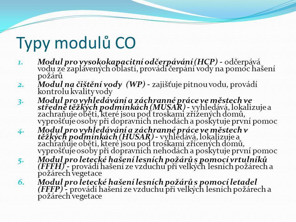 Typy modulů CO 1.Modul pro vysokokapacitní odčerpávání (HCP) - odčerpává vodu ze zaplavených oblastí, provádí čerpání vody na pomoc hašení požárů 2.Modul na čištění vody (WP) - zajišťuje pitnou vodu, provádí kontrolu kvality vody 3.Modul pro vyhledávání a záchranné práce ve městech ve středně těžkých podmínkách (MUSAR) - vyhledává, lokalizuje a zachraňuje oběti, které jsou pod troskami zřízených domů, vyprošťuje osoby při dopravních nehodách a poskytuje první pomoc 4.Modul pro vyhledávání a záchranné práce ve městech v těžkých podmínkách (HUSAR) - vyhledává, lokalizuje a zachraňuje oběti, které jsou pod troskami zřícených domů, vyprošťuje osoby při dopravních nehodách a poskytuje první pomoc 5.Modul pro letecké hašení lesních požárů s pomocí vrtulníků (FFFH) - provádí hašení ze vzduchu při velkých lesních požárech a požárech vegetace 6.Modul pro letecké hašení lesních požárů s pomocí letadel (FFFP) - provádí hašení ze vzduchu při velkých lesních požárech a požárech vegetace