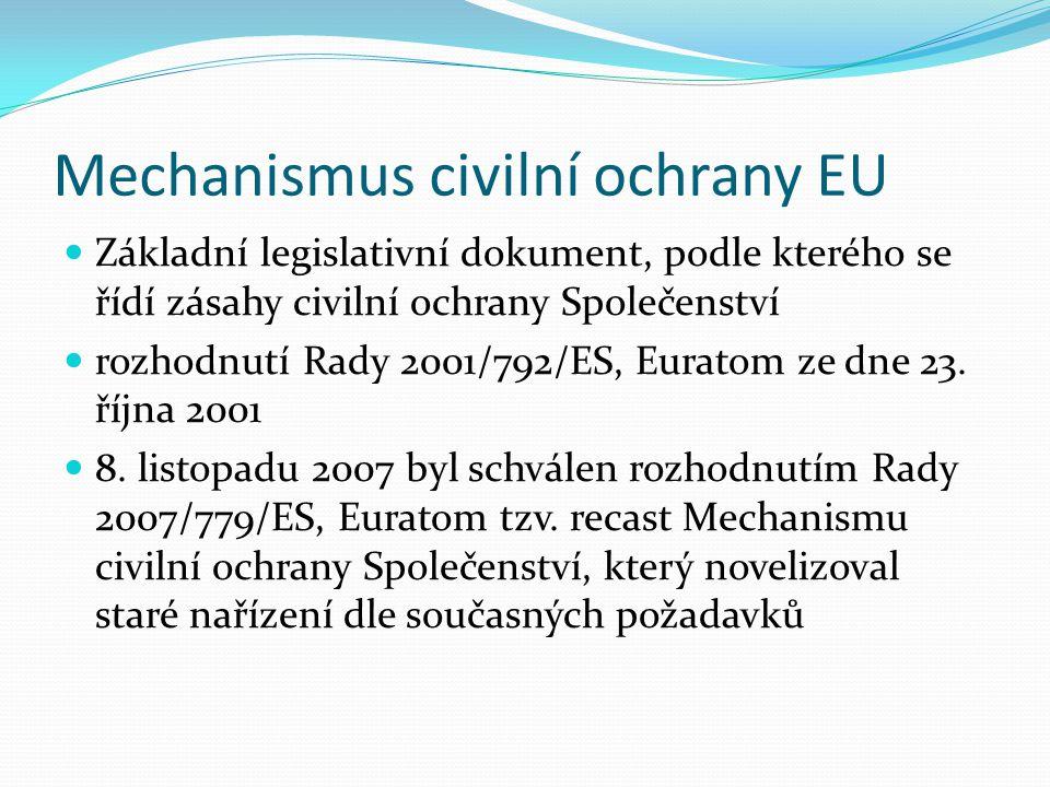 Mechanismus civilní ochrany EU Definuje základní pojmy Právní základ pro deklaraci modulů CO Stanovuje rámcové podmínky pro vzdělávání a výcvik v oblasti CO Zakládá Monitorovací a informační centrum (MIC) Zakládá CECIS (Common Emergency Communication and Information System)