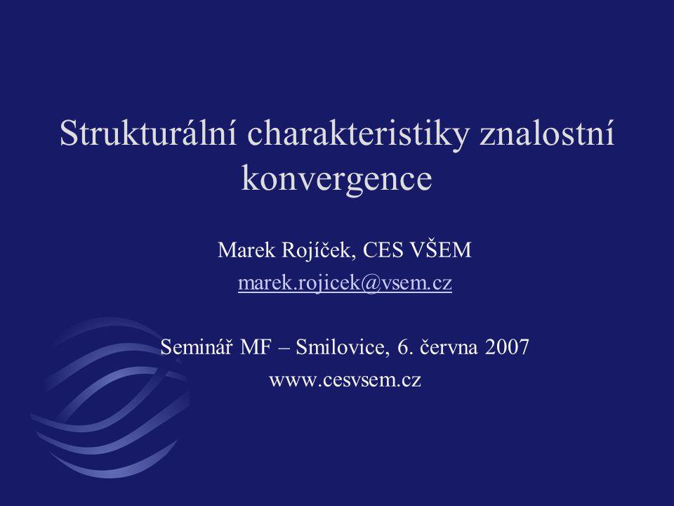Strukturální charakteristiky znalostní konvergence Marek Rojíček, CES VŠEM marek.rojicek@vsem.cz Seminář MF – Smilovice, 6. června 2007 www.cesvsem.cz