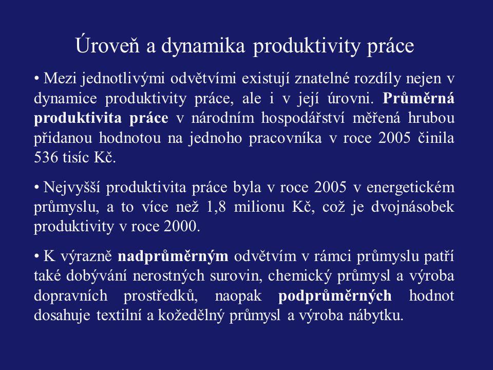 Úroveň a dynamika produktivity práce Mezi jednotlivými odvětvími existují znatelné rozdíly nejen v dynamice produktivity práce, ale i v její úrovni. P