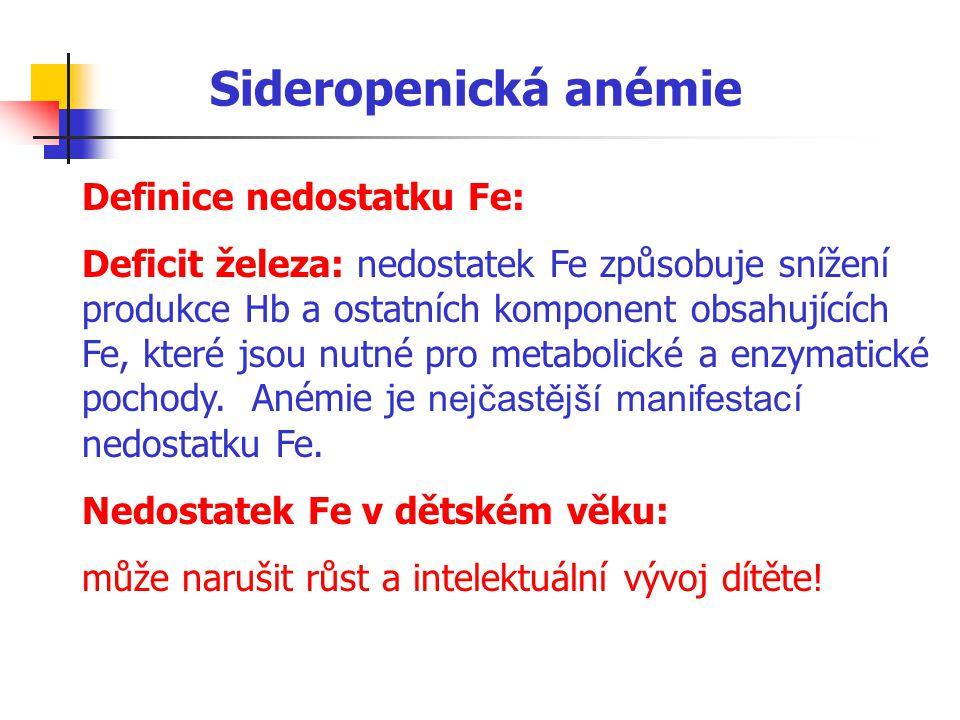 Sideropenická anémie Definice nedostatku Fe: Deficit železa: nedostatek Fe způsobuje snížení produkce Hb a ostatních komponent obsahujících Fe, které