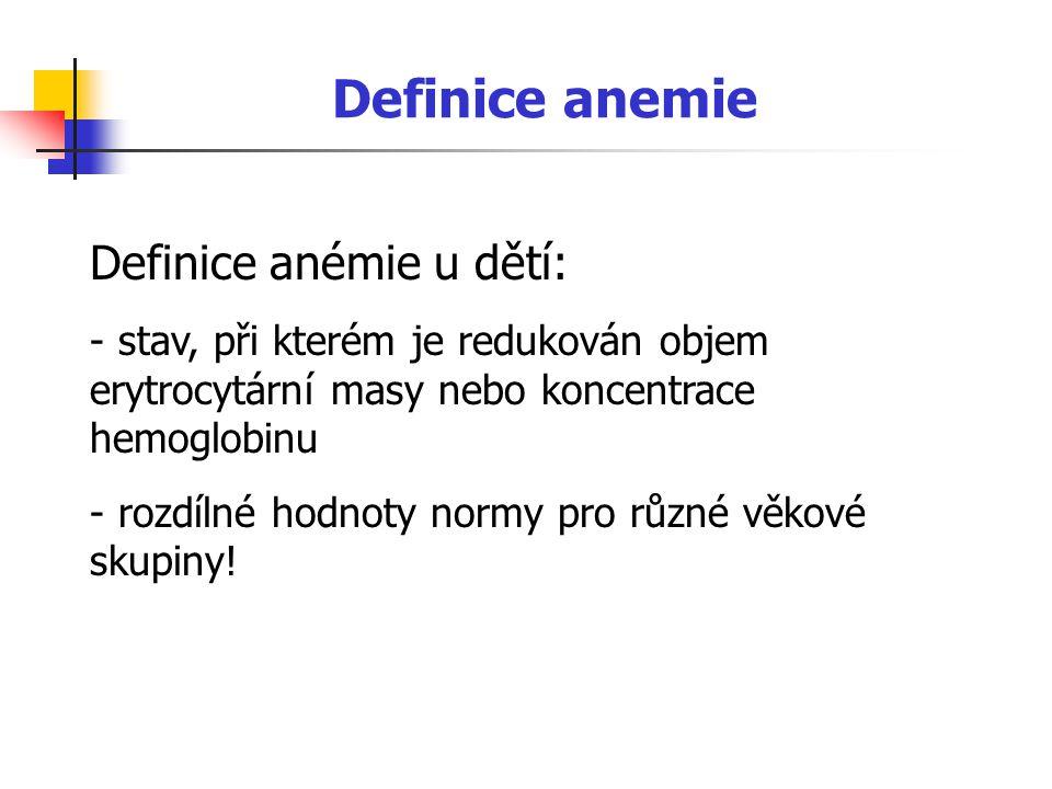Definice anemie Definice anémie u dětí: - stav, při kterém je redukován objem erytrocytární masy nebo koncentrace hemoglobinu - rozdílné hodnoty normy