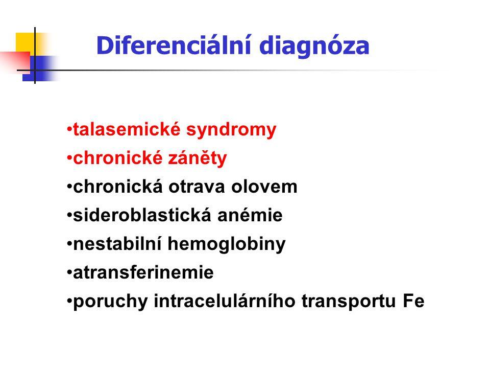 Diferenciální diagnóza talasemické syndromy chronické záněty chronická otrava olovem sideroblastická anémie nestabilní hemoglobiny atransferinemie por