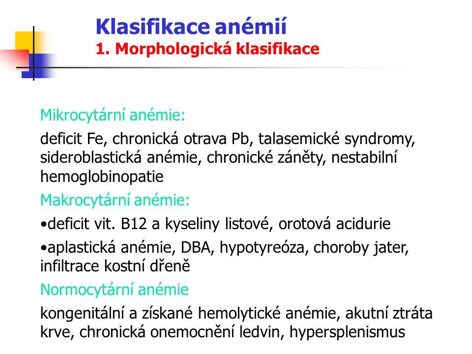 Klasifikace anémií 1. Morphologická klasifikace Mikrocytární anémie: deficit Fe, chronická otrava Pb, talasemické syndromy, sideroblastická anémie, ch